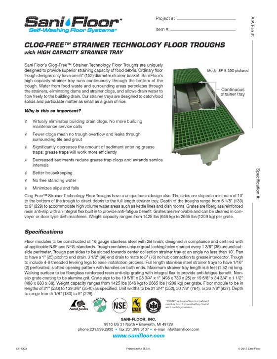 clog-free-spec-sheet-sf-4303